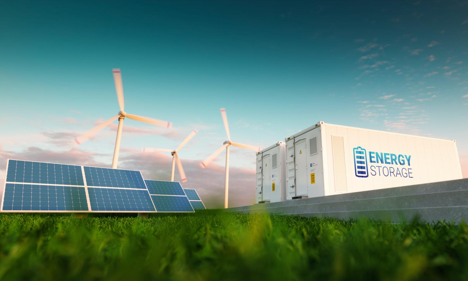 Wind turbines and battery storage.